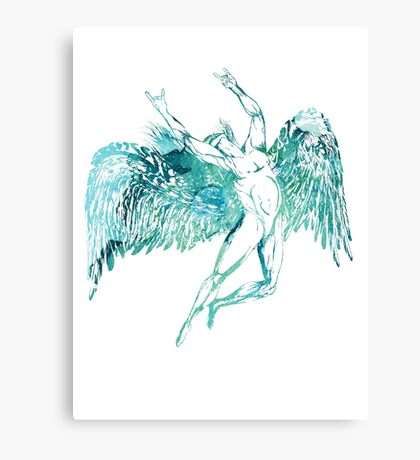 ICARUS THROWS THE HORNS - blue watercolor NEW DESIGN Canvas Print