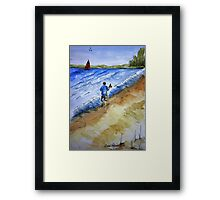 Beach Break Ink and Watercolor Painting Framed Print