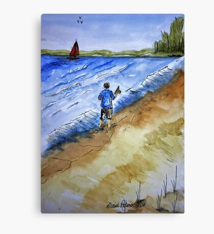 Beach Break Ink and Watercolor Painting Canvas Print