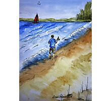 Beach Break Ink and Watercolor Painting Photographic Print