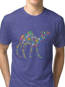 Cute Colorful Retro Floral Camel Tri-blend T-Shirt