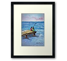 Kids Fishing Off the Dock Ink and Watercolor Painting Framed Print