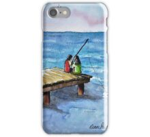 Kids Fishing Off the Dock Ink and Watercolor Painting iPhone Case/Skin