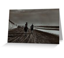 Young Couple Riding Horses at the Beach Greeting Card