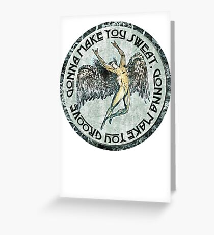 ICARUS THROWS THE HORNS - faded grunge black dog Greeting Card