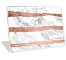 Modern chic faux rose gold brush stripes white marble Laptop Skin