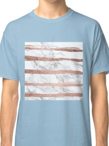 Modern chic faux rose gold brush stripes white marble Classic T-Shirt