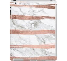 Modern chic faux rose gold brush stripes white marble iPad Case/Skin