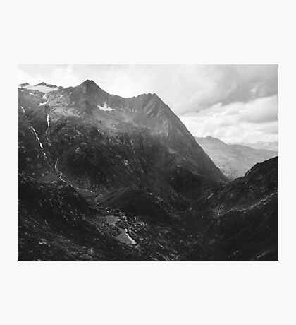 Swiss Alpine Mountain Landscape in Black and White Photographic Print