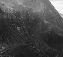 Swiss Alpine Mountain Landscape in Black and White Sticker