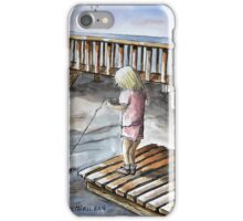 Young Girl Fishing Off Dock Ink and Watercolor Painting iPhone Case/Skin