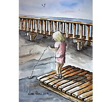 Young Girl Fishing Off Dock Ink and Watercolor Painting Photographic Print