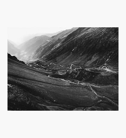 Black and White Shot of Swiss Alpine Road Winding Through Valley Photographic Print