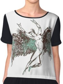 ICARUS THROWS THE HORNS - aqua grunge Chiffon Top