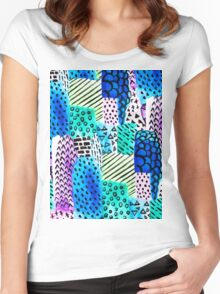 Colorful watercolor block hand drawn pattern Women's Fitted Scoop T-Shirt