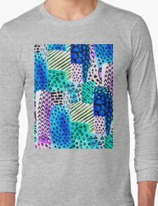 Colorful watercolor block hand drawn pattern Long Sleeve T-Shirt