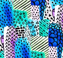 Colorful watercolor block hand drawn pattern by GirlyTrend