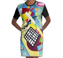 Kandinsky-Black Grid Graphic T-Shirt Dress