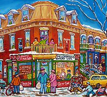 CLASSIC PLATEAU MONT ROYAL CORNER STORE MONTREAL WINTER SCENE by Carole  Spandau