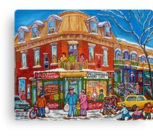 CLASSIC PLATEAU MONT ROYAL CORNER STORE MONTREAL WINTER SCENE Canvas Print