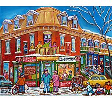 CLASSIC PLATEAU MONT ROYAL CORNER STORE MONTREAL WINTER SCENE Photographic Print