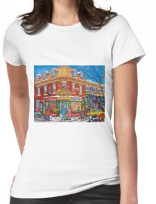 CLASSIC PLATEAU MONT ROYAL CORNER STORE MONTREAL WINTER SCENE Womens Fitted T-Shirt