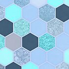 Denim Blue, Aqua & Indigo Hexagon Doodle Pattern by micklyn