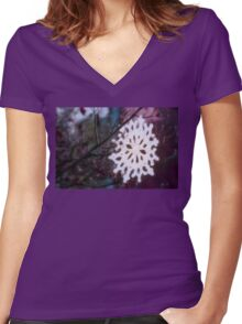 spring snowflake Women's Fitted V-Neck T-Shirt