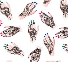 Modern watercolor henna tattooed hands pattern by GirlyTrend