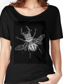 Black Dotwork Flying Beetle Bug Illustration Women's Relaxed Fit T-Shirt