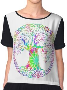 CELTIC KNOTS TREE OF LIFE - tie dye Chiffon Top