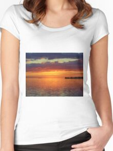 Colorful Sunset Sky Women's Fitted Scoop T-Shirt