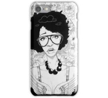 woman with floral line art iPhone Case/Skin