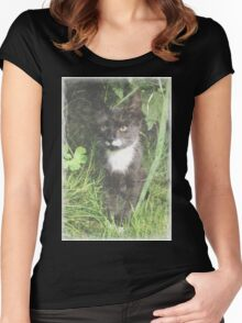 Faded Cat in the Woods Women's Fitted Scoop T-Shirt