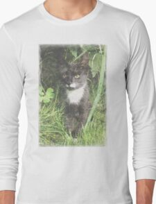 Faded Cat in the Woods Long Sleeve T-Shirt