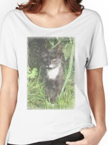 Faded Cat in the Woods Women's Relaxed Fit T-Shirt