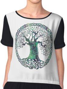 CELTIC KNOTS TREE OF LIFE - swamp midnight Chiffon Top