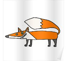 Funky Cool Red Fox Cartoon Poster