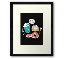 Dark coffee and donuts  Framed Print
