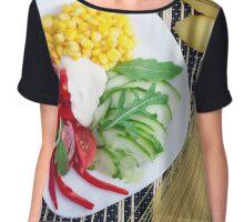 Vegetarian dish of raw vegetables and mozzarella  Chiffon Top