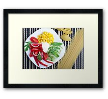 Vegetarian dish of raw vegetables and mozzarella  Framed Print