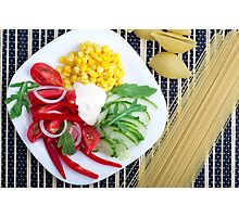 Vegetarian dish of raw vegetables and mozzarella  Photographic Print