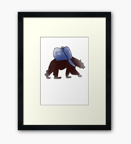 Traveling Brown Bear Framed Print