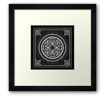 Indigo Home Medallion - White Framed Print