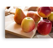 Autumn harvest of apples and pears Canvas Print