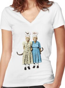 Two Cool Kitties: What's for Lunch? Women's Fitted V-Neck T-Shirt