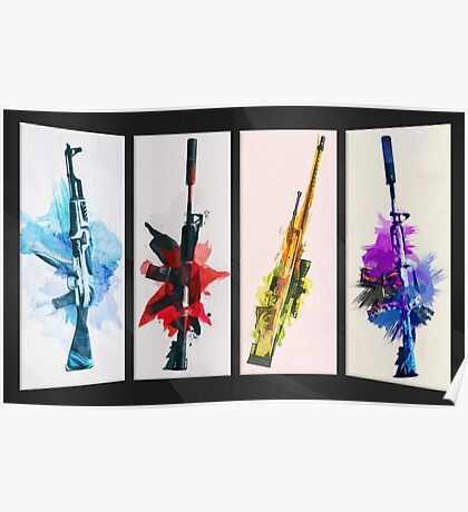 CS:GO Watercolor weapons v2 Poster