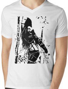 Sexy Goth Girl in Shibari Bondage Pose, black and white Mens V-Neck T-Shirt