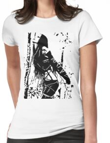 Sexy Goth Girl in Shibari Bondage Pose, black and white Womens Fitted T-Shirt