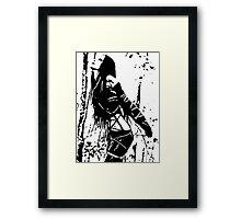 Sexy Goth Girl in Shibari Bondage Pose, black and white Framed Print